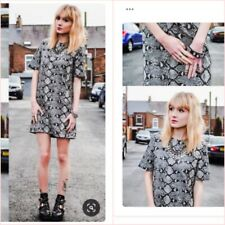 SALE  Zara Grey Snakeskin Jacquard Short Sleeve Shift Mini Dress S UK 8 US 4