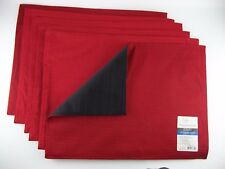 """Set of 6 Placemats RED and BLACK 14"""" x 19"""" REVERSIBLE NEW Mainstays Table Ribbed"""