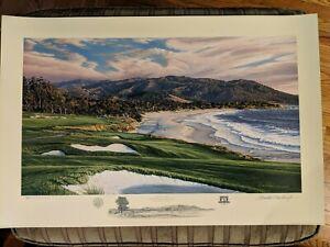 "2009 US Open PEBBLE BEACH 9th Hole Linda Hartough Signed Print 566/850 31 x 21"""""