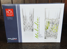 RCR Italian Crystal - Boxed Set of Six Melodia Design Hi Ball Tumblers - BNIB