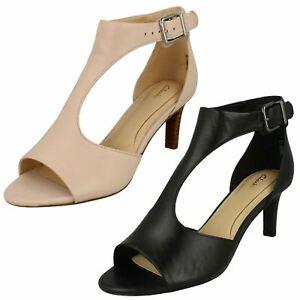 Ladies Clarks Laureti Star Smart Leather Heeled Sandals - D Fitting