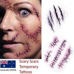 Halloween Zombie Scars Tattoos Fake Scab Blood Special Costume Makeup Sticker