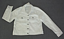 B Collection: Size: 14. Modern White, with 4 x Pockets Metal-Button Jean Jacket