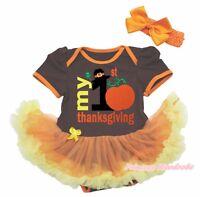 My 1st Thanksgiving Brown Cotton Bodysuit Rainbow Girl Baby Dress Set NB-18M