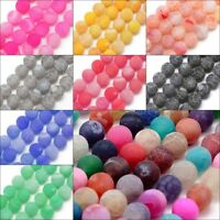 Achat Perlen Edelsteine Natur Gefrostet 4/6/8/10 mm Schmucksteine Wählen Farbe