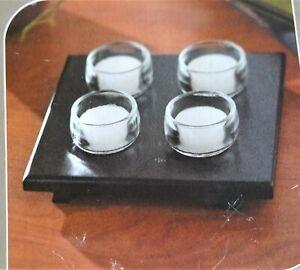 4 Teelichthalter auf Holztablett Teelichtgläser Teelichtglas Glas Glasteelichter