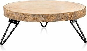 Wood Cake Stand for Dessert Table Round Rustic Cake Holder Tray Wooden 10-9 inch