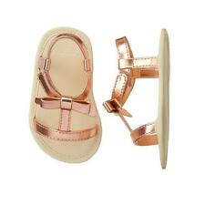 NWT Gymboree Baby Girls Metallic Gold Bow Sandals Crib Shoes Size 1