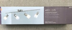 Allen + Roth 4-Light (35.6-in) Brushed Steel Dimmable Track Bar Frosted Glass