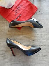 New Christian Louboutin Pigalle Plato Black Leather Red Sole Point toe Pump 42