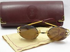VINTAGE CARTIER MADISON ROUND GOLD 1586314 130 BROWN LENS SUNGLASSES w/ CASE