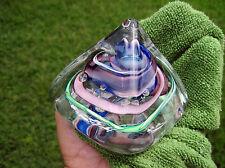Awesome Signed Robert Hamon Pyramid Art Glass Ribbon Canne Swirl Paperweight