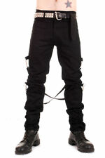 Black Cotton UK Bondage Pants. Punk