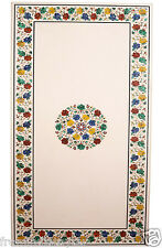Size 4'x2' White Glass Table Top Multi Gem Mosaic Inlaid Marble Stone Art H2186
