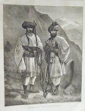 GRAVURE SUR BOIS 19ème AVANCE SUR KABOUL AFGHANISTAN LES ALPINISTES AFGHANS
