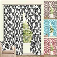 Lined Flock Faux Silk Regency Design Curtains + Tie Backs - 12 Sizes & 4 Colours