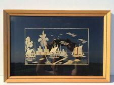 Paysage Indochinois encadré - Collage de paille de riz sur soie - 32 x 47 cm