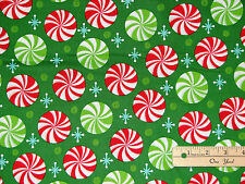 Peppermint Twist Candy & Snowflakes Green Christmas Fabric by the 1/2 Yard #9523
