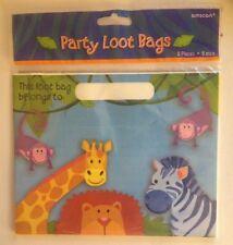 Wild Kingdom Jungle Zoo Animals8 Loot Treat Bags Birthday Party Supply Favor