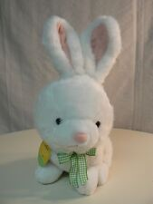 Hallmark White Plush Bunny Large with Green Plaid Bow New Boy or Girl Gift