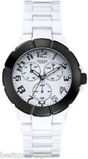 NEW GUESS WHITE+BLACK ACRYLIC,RESIN MULTI-FUNCTION WATCH-U10070G5
