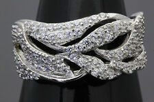 Size 7 Solid Sterling Silver Cubic Zirconia Designer Dress Ring Band for Ladies