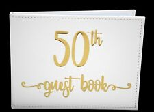 50th Birthday Sign Keepsake White Modern Signature Guest Book Memories Present