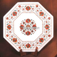 Marble Side Table Top Carnelian Stone Floral Inlay Outdoor Marquetry Decor H3732