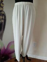 Eileen Fisher Bone Silk Georgette Crepe Slouchy Ankle Pants w/ Pockets Size 1X
