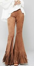 Cowgirl GYPSY Camel Tan FAUX SUEDE Boho FRINGE Bells Pants SMALL 70s fashion