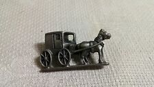 Vintage Pewter Amish Horse & Buggy Brooch Pin