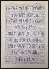 'Purple Rain' Prince Music Lyrics Vintage Dictionary Wall Art Print Picture