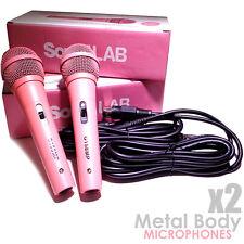 Par De Micrófono dinámico rosa con cuerpo de metal con 4m XLR Cables Dj Karaoke