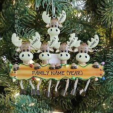 Moose Deer Family of 5 Personalized Christmas Thee Ornament