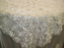 "BNIP Lot/10 85"" White Satin Rosette Tablecloth Overlay Topper Wedding Reception"