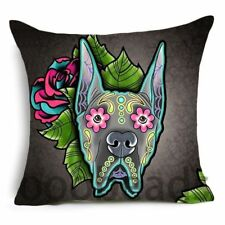 """GREAT DANE SUGAR SKULL CUSHION COVER 17/"""" Day of the Dead DOG Grey Green Pink"""