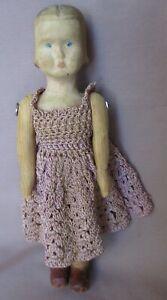 """Vintage 8"""" Carved Wood Girl Doll"""
