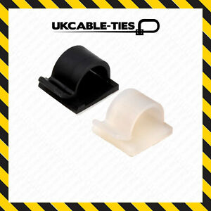 Self-Adhesive Nylon Clips Fasteners for Wire, Cable, Conduit Black Natural/White