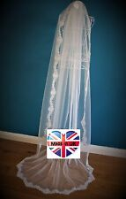 Bridal Veil *1 Tier*Chapel Length*Off white/Ivory*Wide Corded Lace*Bespoke *