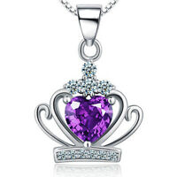 """Fashion 925 Sterling Silver Purple Crystal Pendant Necklace Women's Jewelry 18"""""""
