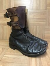 Vintage🔥 WW2 WWII 1940's Military Combat Boots Double Buckle Strap Sz 8 D USA