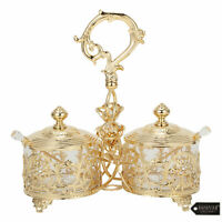 Matashi 24K Gold Plated Crystal Studded Candy Dish / Salt Holder Gift for Mom