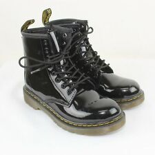 Dr. Martens Girl's Black Glossy Leather Delaney Boots Size 13