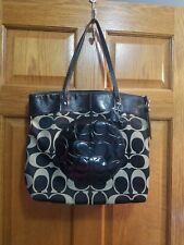 Coach Laura large tote/bag F18335 Black And Beige