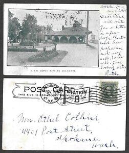 1905 Delaware Postcard - Newark - B&O Railroad Station, Depot