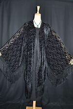 Art to Black Silk Burnout Velvet Fringe Kimono Opera Coat Duster Jacket New D063
