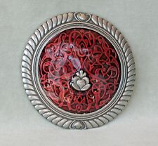 "Hand Made Enameled Art Nouveau Purse Mirror ""Celts"", Danforth Pewter, Vermont"