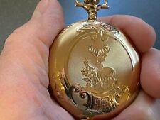 14K Gold Hunter Case Pocket Watch Stunning 1896 Elgin Fancy Dial 15j Solid