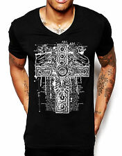 Celtic Cross Bible Quote V Neck T Shirt Religion Catholic Men Cotton Fitted Top