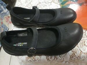 Colorado Black Leather Mary Janes Flats Shoes Size 38 Non Marking Sole. VGC